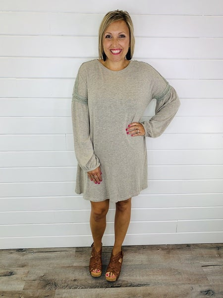 Easel Taupe Balloon Sleeve Sweater Dress