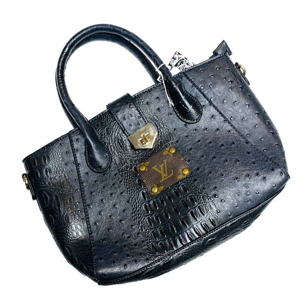 Authentic Upcycled LV Small Black Crocodile Leather Handbag