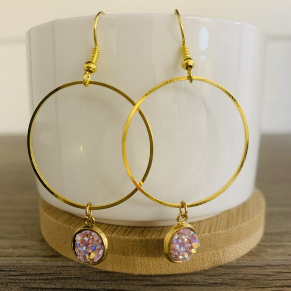 Gold Hoop Earring with Stone