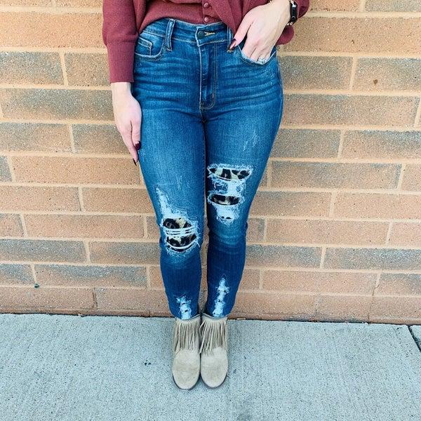 PLUS/REG Judy Blue Be Fierce Leopard Patch Skinny Jeans
