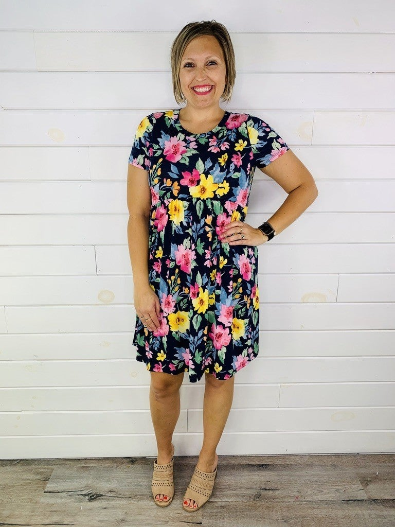PLUS/REG HoneyMe Navy Bright Floral Dress
