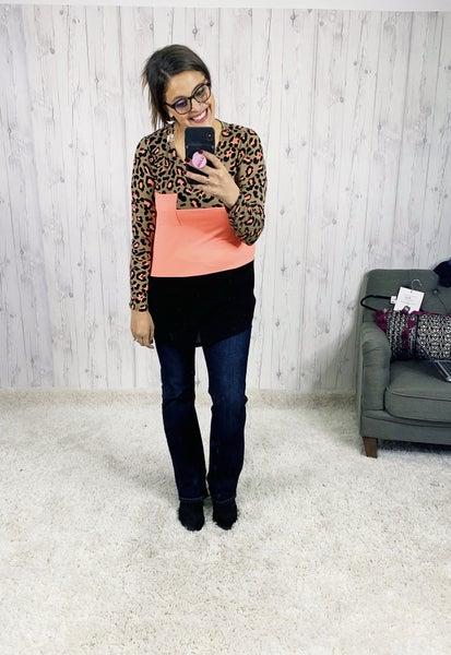 PLUS/REG Honeyme Leopard Colorblock Top