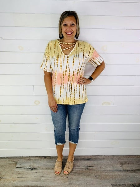 Tan and Coral Tie Dye Brushed Top with Criss Cross Neck