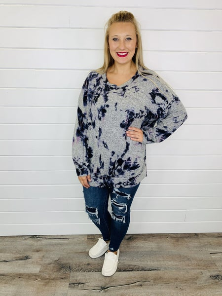 Super Soft Tie Dye Top with Balloon Sleeves- 2 Colors!