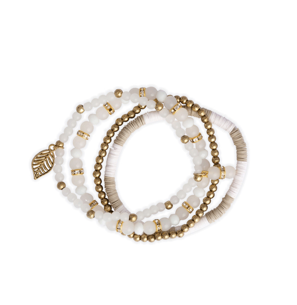 Myra- Four White Bracelet Stack