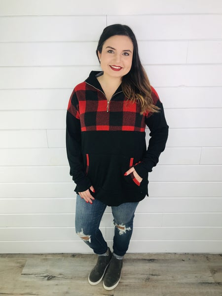 PLUS/REG Honeyme Buffalo Plaid 1/4 Zip Pullover