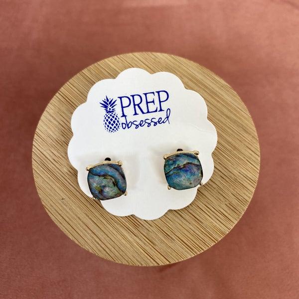 Abalone Print Stud Earrings