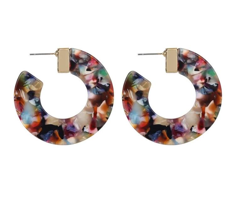 Rainbow Acrylic Hoop Earrings