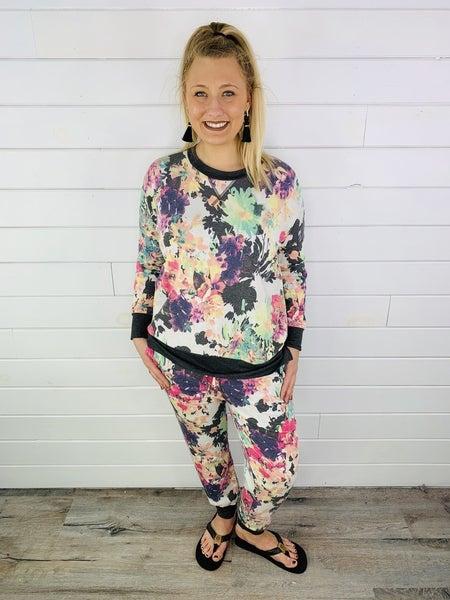HoneyMe Plus/Reg Bright Floral Joggers