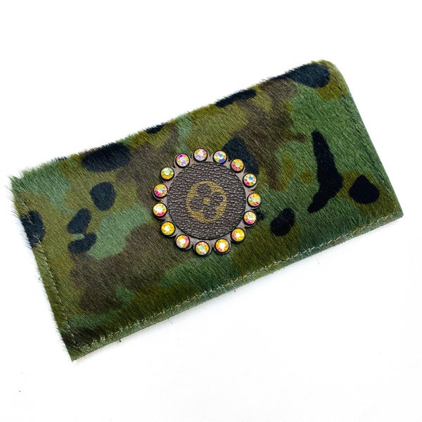 Authentic Upcycled LV Camo Checkbook Case With Iridescent Rhinestones