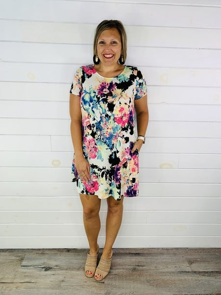 PLUS/REG HoneyMe Slinky Floral Dress with Pockets
