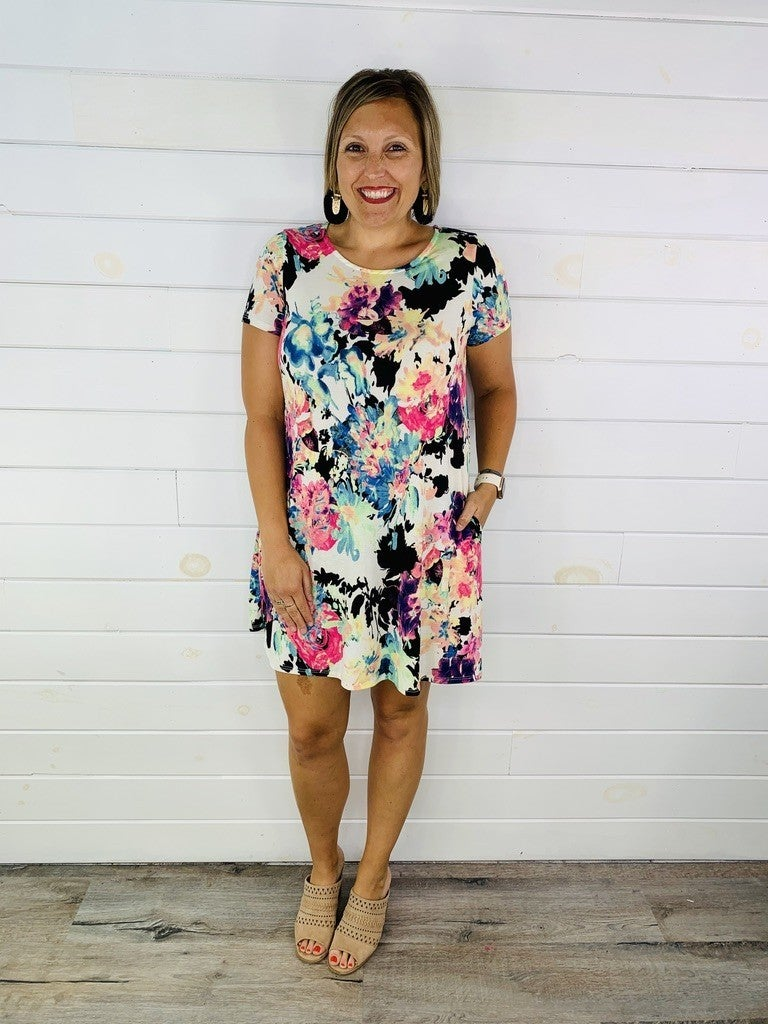 PLUS/REG HoneyMe Slinky Floral Dress with Pockets