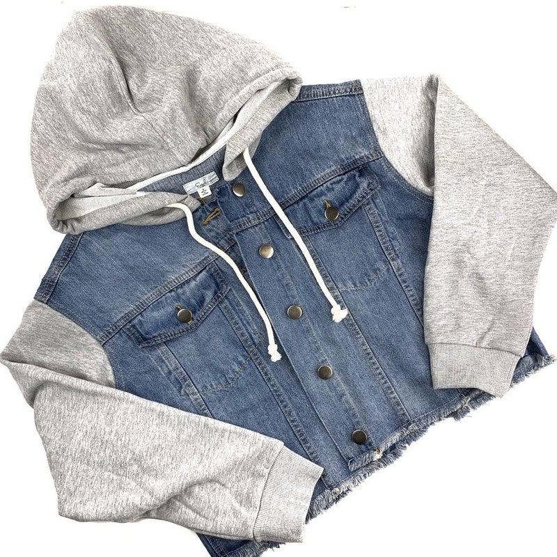 Plus/Reg EASEL Hooded Denim Jacket