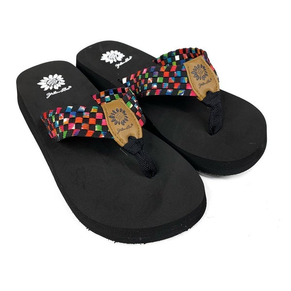 Yellowbox Black Multi Colored Flip Flops