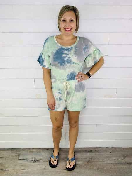 PLUS/REG Mint and Blue Tie Dye Romper