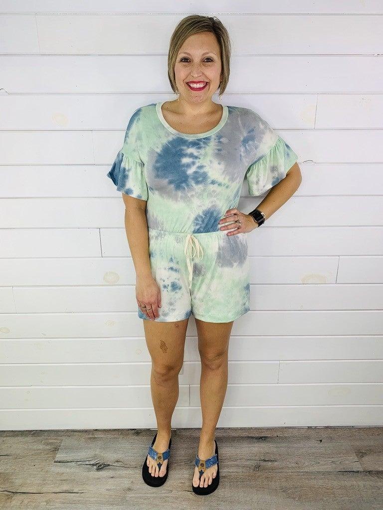 PLUS/REG Mint and Blue Tie Dye Romper