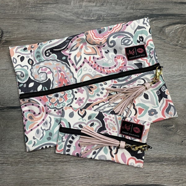 Multi- Color Paisley Makeup Junkie Bags