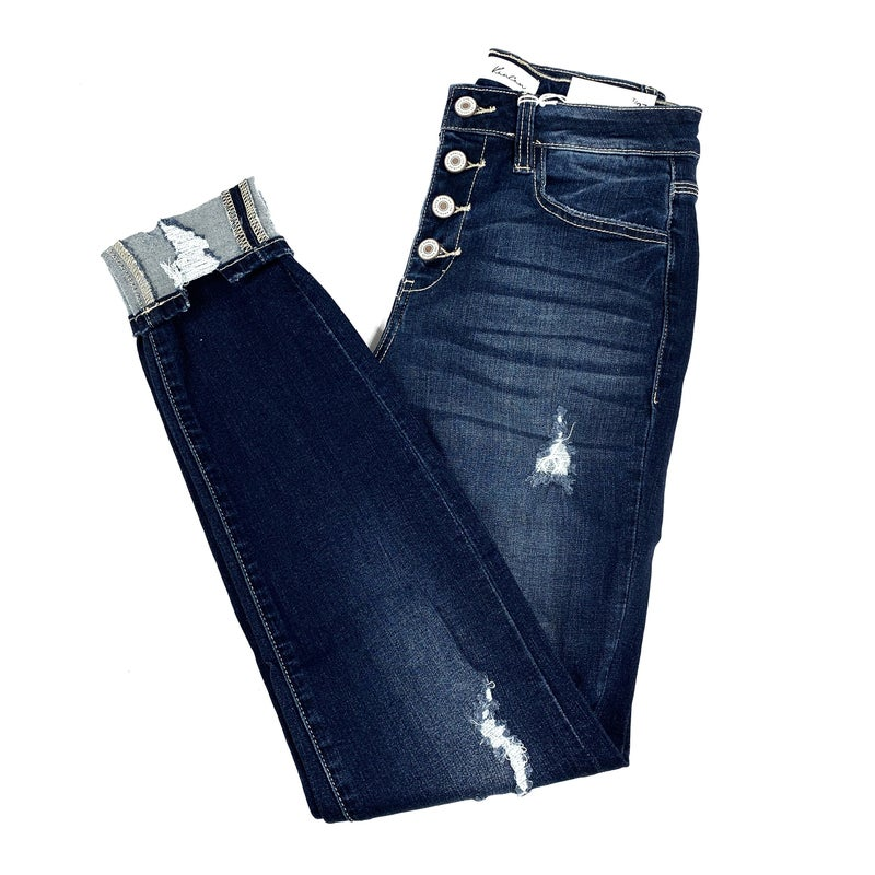 Plus/Reg Kan Can Cute as a Button Skinny Jeans