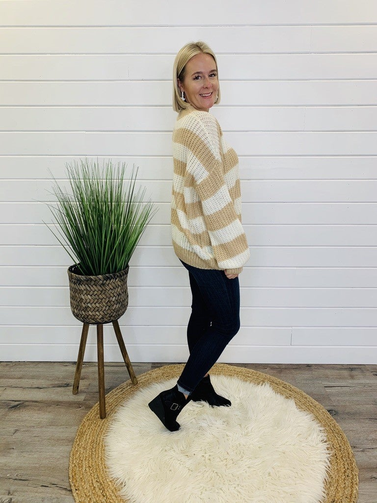 Slouchy Striped Knit Sweater- 3 Colors!