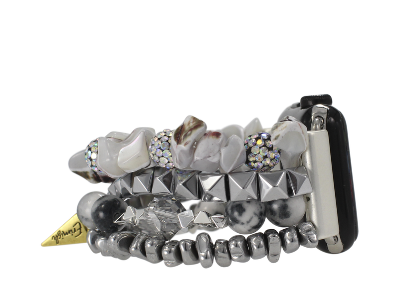 Erimish Silver Beaded Apple Watch Band
