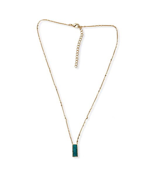 Myra Handcrafted Turquoise and Gold Stone Necklace