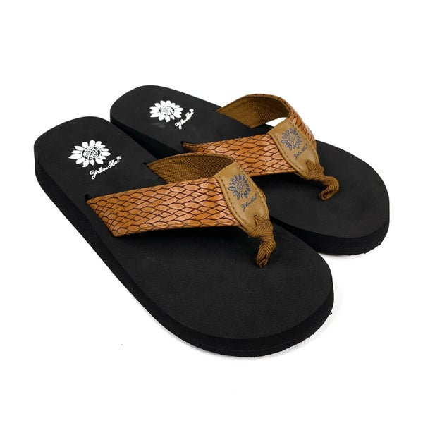 Yellowbox Mellow Mat Cognac Braided Flip Flops