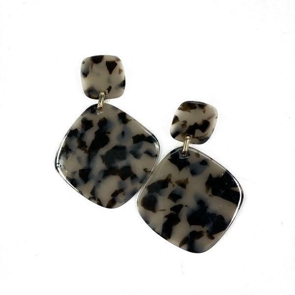 Grey and Black Acetate Drop Earrings