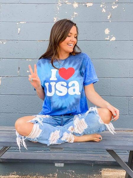 PREORDER Plus/Reg I Love USA Tie Dye Graphic Tee
