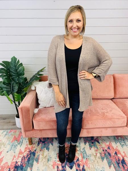 3/4 Sleeve Knit Sweater- Mocha