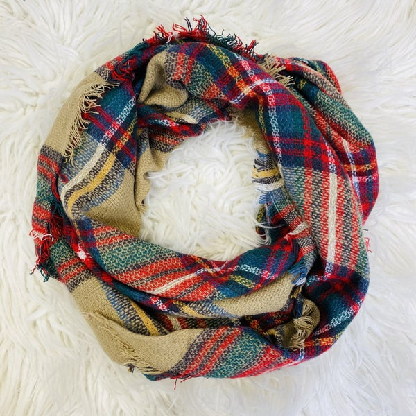 Tan And Red Plaid Triangle Scarf