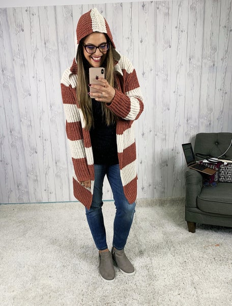 POL Hooded Open Striped Cardigan