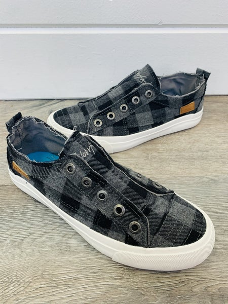 Blowfish Grey Buffalo Check Slip On Sneakers