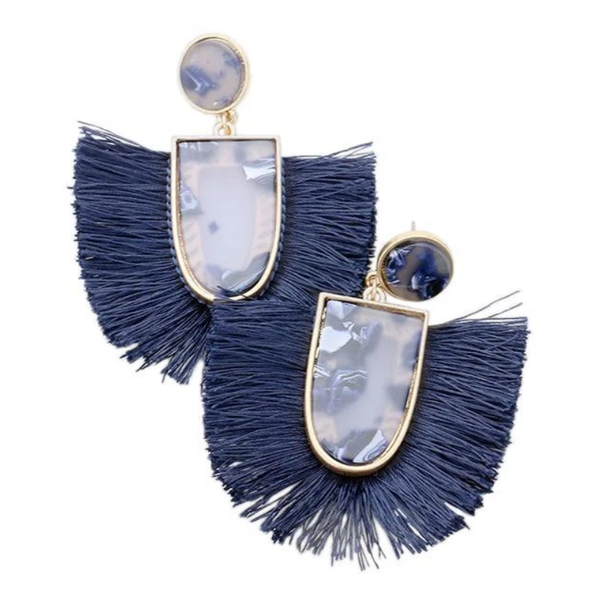 Navy Tassel and Acrylic Earrings