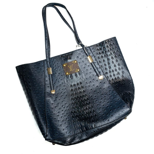 Authentic Upcycled LV Large Black Crocodile Handbag