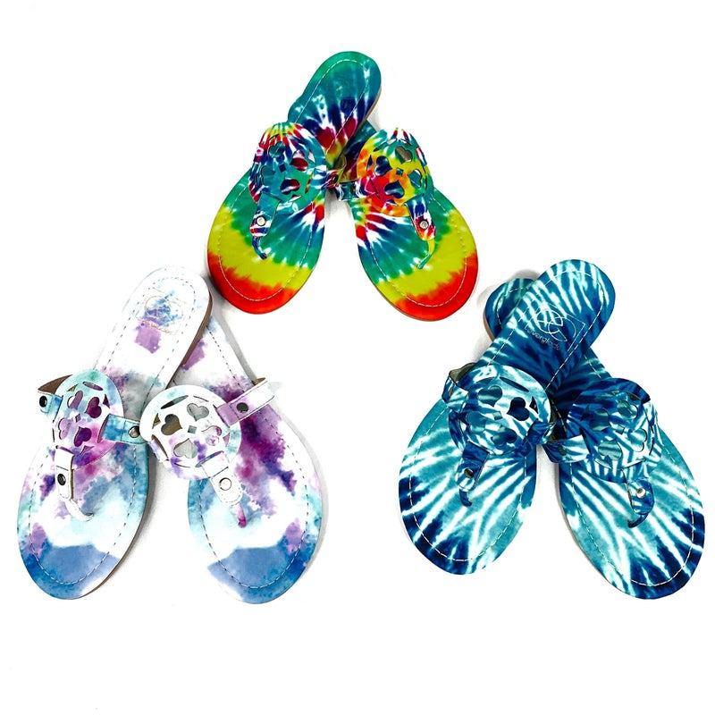 Take Me To The Beach Tie Dye Designer Inspired Sandals