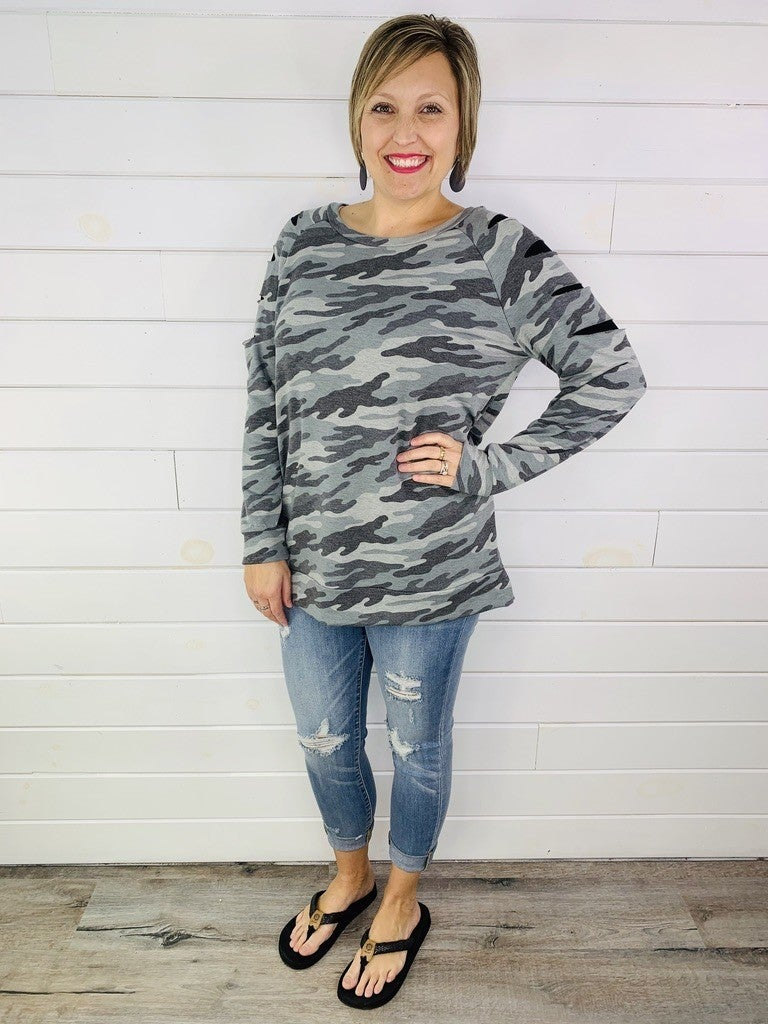 PLUS/REG HoneyMe Ripped At The Seams Camo Top