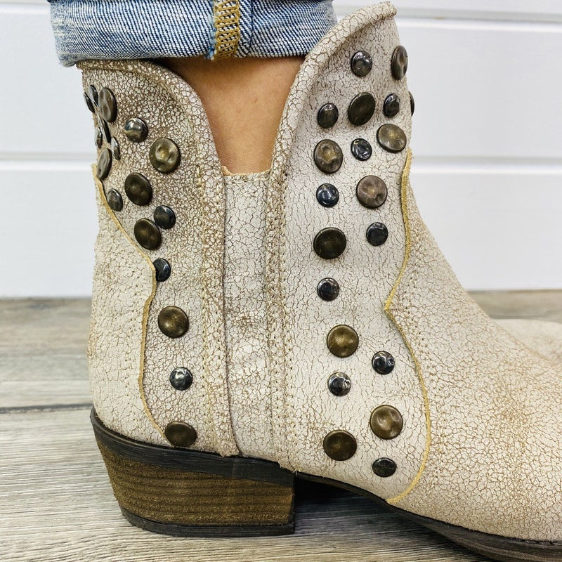Corky's Distressed Leather Stud Ankle Boot