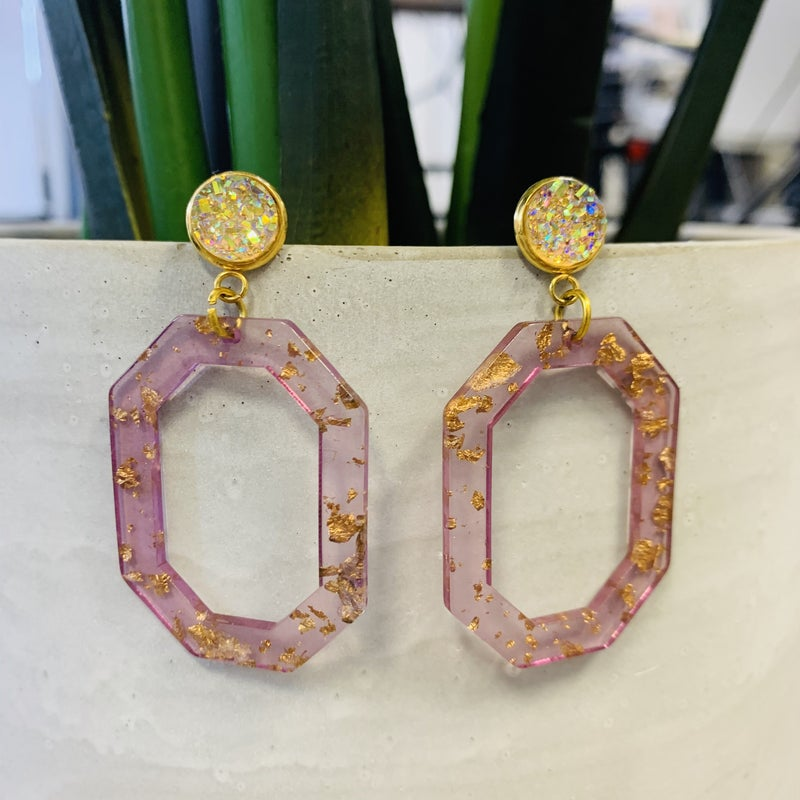 Pink & Gold Acrylic Drop Earrings with Druzy