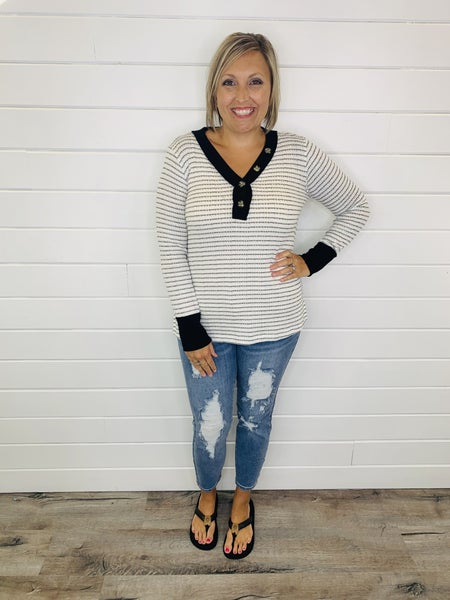 White and Black Striped Long Sleeve Top with Buttons and Black Contrast