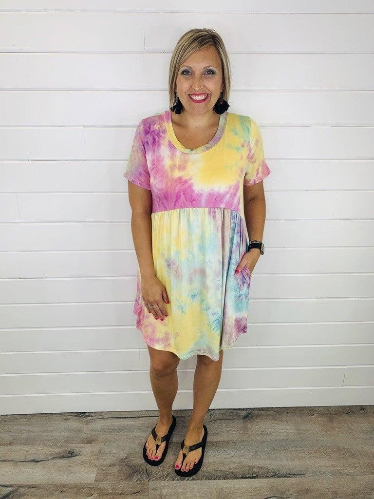 PLUS/REG Slinky Tie Dye Babydoll Dress