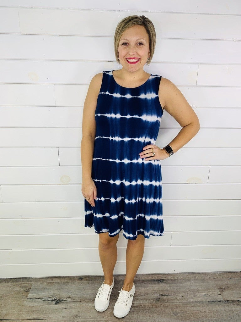 PLUS/REG Tie Dye Swing Tank Dress with Pockets-- Two Colors!