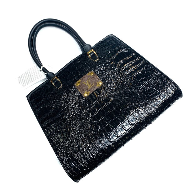 Authentic Upcycled LV Black Faux Leather Crocodile Handbag