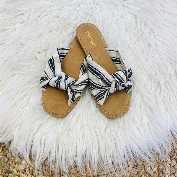 Black and Ivory Knotted Slide Sandal