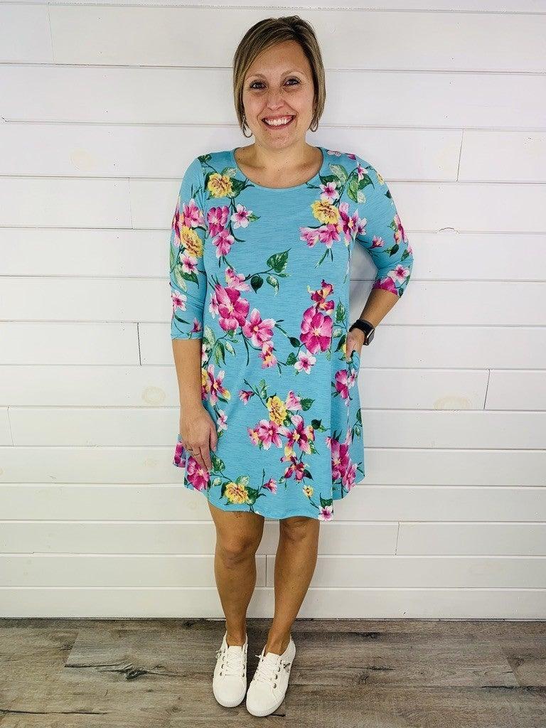 PLUS/REG HoneyMe Mint Floral Dress with POCKETS!