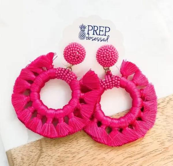 Magenta Braided Tassel Earrings