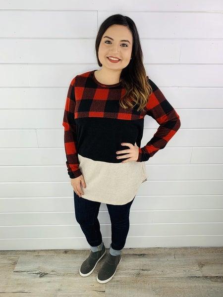 PLUS/REG HoneyMe Buffalo Plaid Color Block Sweater