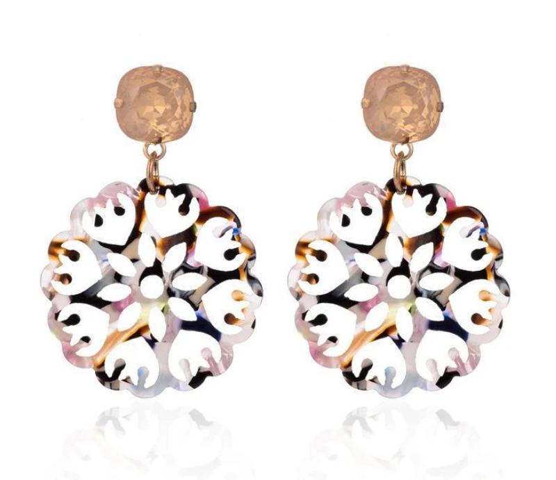 Rainbow Acrylic Mandala Earrings with Gem