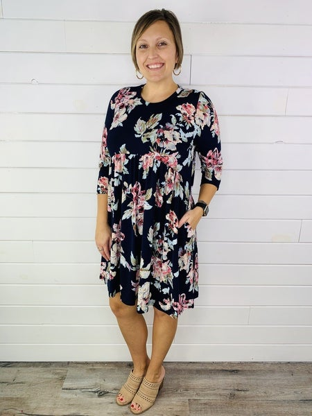 PLUS/REG HoneyMe Floral Babydoll Dress with Pockets