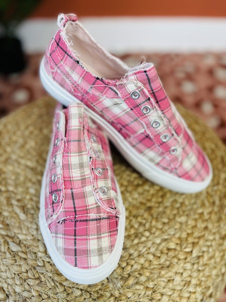 DOORBUSTER! Corky's Pretty In Pink Plaid Sneakers