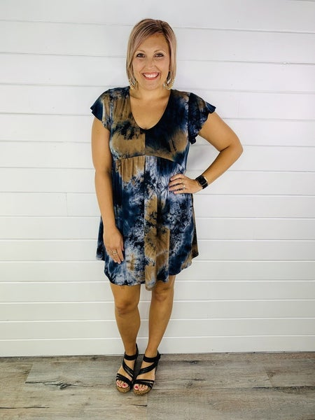 PLUS/REG Midnight Storms Tie Dye Dress